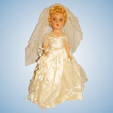 """Vintage 1940s Composition 14"""" Blonde Bride Doll"""