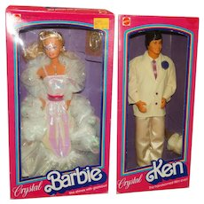 Vintage NRFB 1983 Crystal Barbie & Ken Dolls