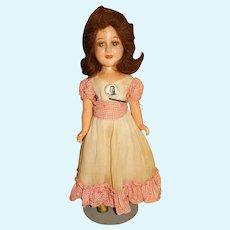 "Vintage Ideal 1930s Composition 15"" Deanna Durbin Doll w/Pin"