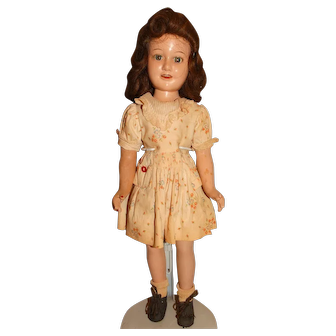 "Vintage Ideal 1930s Composition 18"" Deanna Durbin Doll w/Original Outfit"