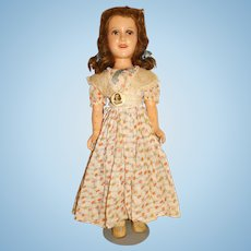 "Vintage Ideal 1930s Composition 21"" Deanna Durbin Doll w/Pin"