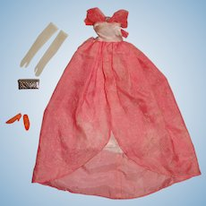 Vintage Francie Complete Japanese Exclusive Pink Flocked Gown Outfit