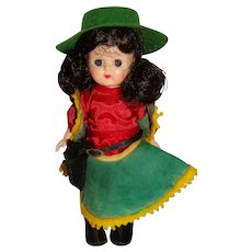 """Vogue 1950s Brunette 8"""" Walking Ginny Doll w/Cowgirl Outfit"""