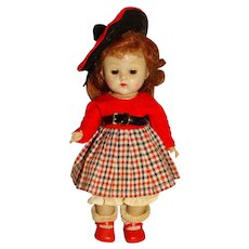 """Vogue 1950s 8"""" Strung Ginny Doll w/Plaid Outfit"""