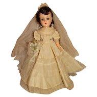 "Vintage 1950s Unmarked 14"" Hard Plastic Walking Bride Doll"
