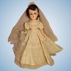 "Vintage 1950s Unmarked 14"" Hard Plastic Walking Bride Doll"