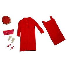 Vintage Barbie Complete Japanese Exclusive Raspberry Knit Suit Outfit