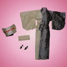 Barbie Vintage Complete Japanese Exclusive Black & White Kimono Outfit