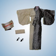 Barbie Vintage Complete Japanese Exclusive Black & White Kimono Outfit
