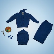 Vintage Barbie 99% Complete Blue Knitting Pretty Outfit