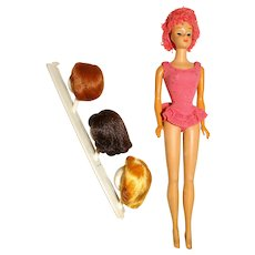 Vintage Bend Leg Miss Barbie Doll w/Wigs & Stand