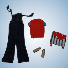 Vintage Barbie Complete Overall Denim Outfit