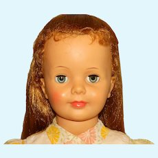 """Ideal 1960s 35"""" Blonde Spitcurl Patti Playpal Doll w/Green Eyes & Original Variation Outfit"""
