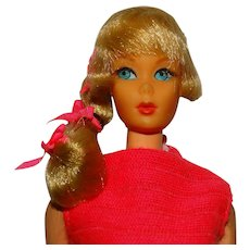 Vintage Blonde Side Ponytail Talking Barbie Doll w/Factory Hair Set