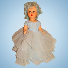 """Unmarked 1960s Blue Hair 15"""" Italy Clone Doll"""