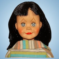 "Unmarked 1960s Raven Black 21"" Brikette Jolly Jinx Clone Doll w/Slacks"