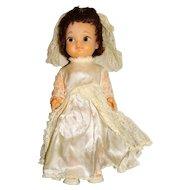"Uneeda 1960s Brunette 12"" Bride Doll"