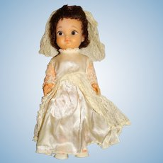 "Uneeda 1960s Brunette 12"" Bride Doll"