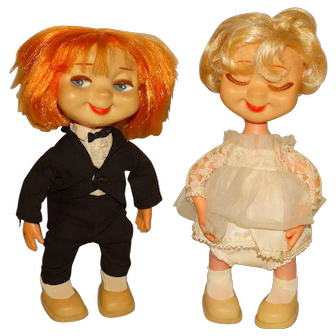 "American Character 1960s 9"" Tiny Whimsies Bride & Groom Dolls"