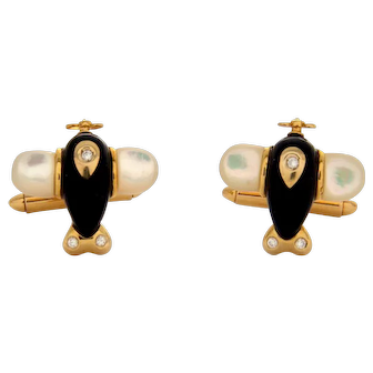 Estate 18K 750 Gold Airplane Cufflinks With Diamonds, Mother of Pearl & Onyx