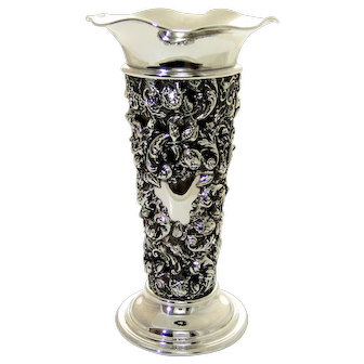 1800 Amercian Sterling Silver Vase with Glass Insert Mauser Co. Floral