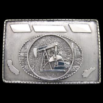 Custom Handmade Sterling Silver Oil Well Belt Buckle