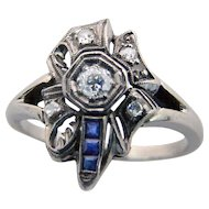 Vintage Art Nouveau Diamond Ring with Sapphires