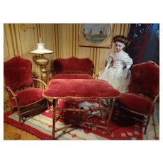 Doll House Upholstered Twig Table, Settee, and Chairs LAYAWAY AVAILABLE