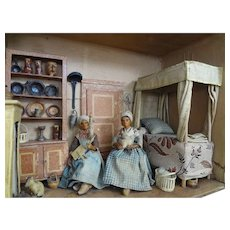 Early French Room Box with Wax Dolls Furniture Fireplace