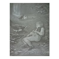 German Lithophane of Boy and Chickens