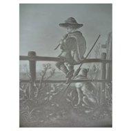 SALE German Lithophane of Boy on Fence