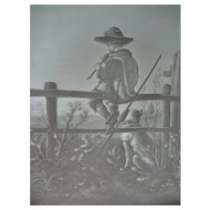 SALE German Lithophane of Boy on Fence
