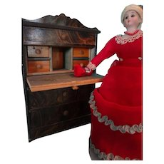 SALE  Doll House Biedermeier  Drop Front Desk Grain Painted with Three Drawers