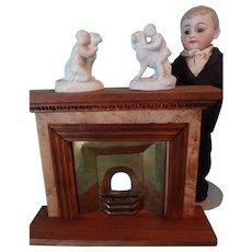 Miniature Pair Parian Figures Dog and Child