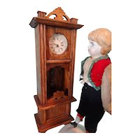 German Oak Grandfather Clock for Doll House