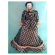Black China Head in Silk Black Check Dress