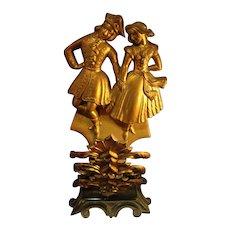 SALE English Brass Figural Mantel Piece
