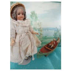 """SALE 6 1/2"""" Bisque Doll on Compo Body Jointed Arms Legs"""