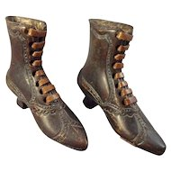 Pair of Miniature Bronze Metal Boots with Leather Soles and Laces