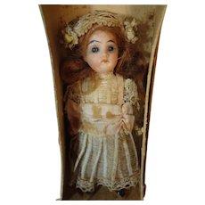 German Bisque Miniature Doll Original Costume Original Box