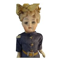 "6"" German Bisque Doll in Original Uniform Glass Eyes Swivel Head"
