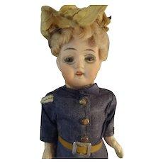 "SALE  6"" German Bisque Doll in Original Uniform Glass Eyes Swivel Head"