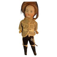 "SALE 6 1/2"" Bisque Boy in Original Uniform with Sword"