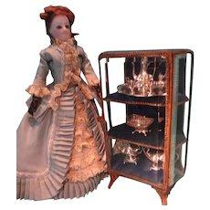 SALE Beveled Glass and Dore Bronze Miniature Showcase