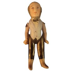 "3 1/4"" All Bisque Man with Moulded and Painted Clothes Features"