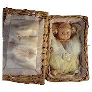 SALE  Wicker Basket with Celluloid Kewpie Type Pincushion Doll