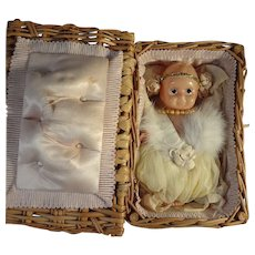 Wicker Basket with Celluloid Kewpie Type Pincushion Doll