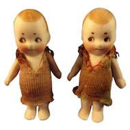 """SALE Pair of 2"""" German All Bisque with Googly Eyes"""