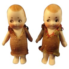 "SALE Pair of 2"" German All Bisque with Googly Eyes"