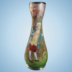 Miniature French Hand Painted Enamel and Foil Vase